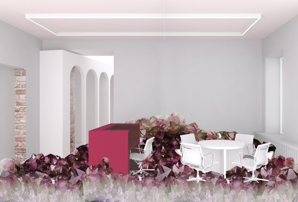 Reception desk at NGRS - artistic rendering