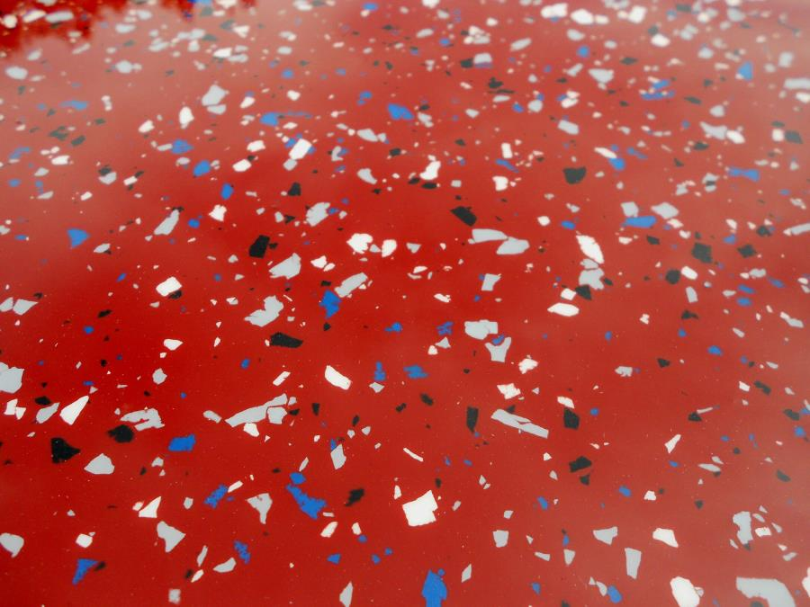 Red epoxy garage floor