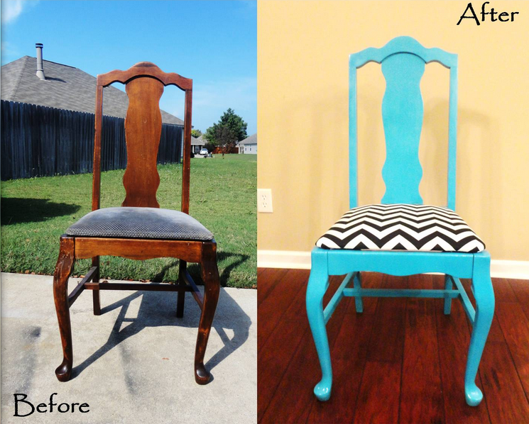 Turquoise gives new life to an old, used chair