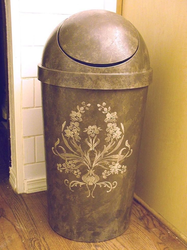 Regular trash can with stenciled designs