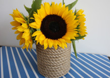 Rope Wrapped Vases DIY Sunflower