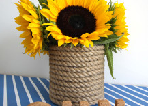Rope Wrapped Vases DIY Sunflower and Stripes