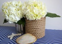 Rope Wrapped Vases DIY on Top of Blue Chevron