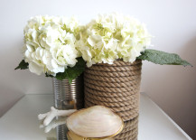 Rope Wrapped Vases DIY with White Hydrangeas