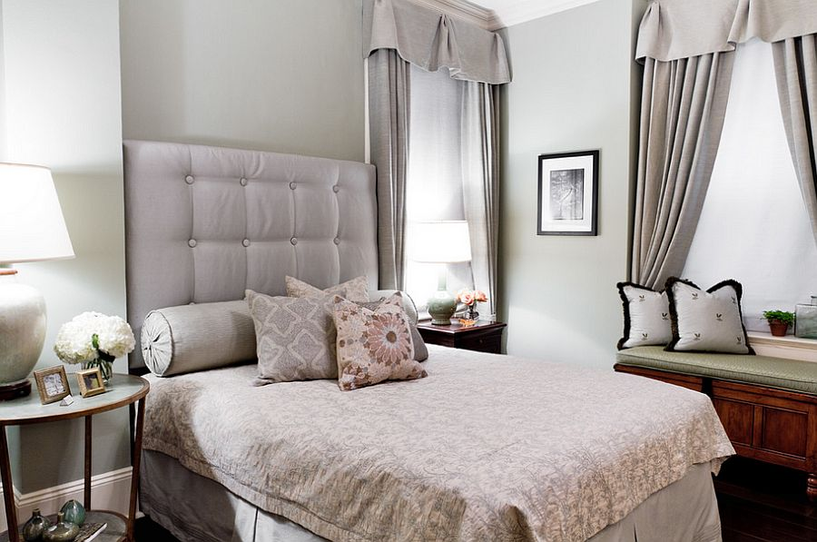 Round and square bedside table for the chic, feminine bedroom [Design: Shannon M. Leddy Interior Design]