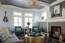 Round metallic coffee table, side tables and chandelier bring glitter to the casual living room [Design: Minhnuyet Hardy Interiors]  50 Fabulous Coffee Tables that Usher in a Golden Glint Round metallic coffee table side tables and chandelier bring glitter to the casual living room 270x180