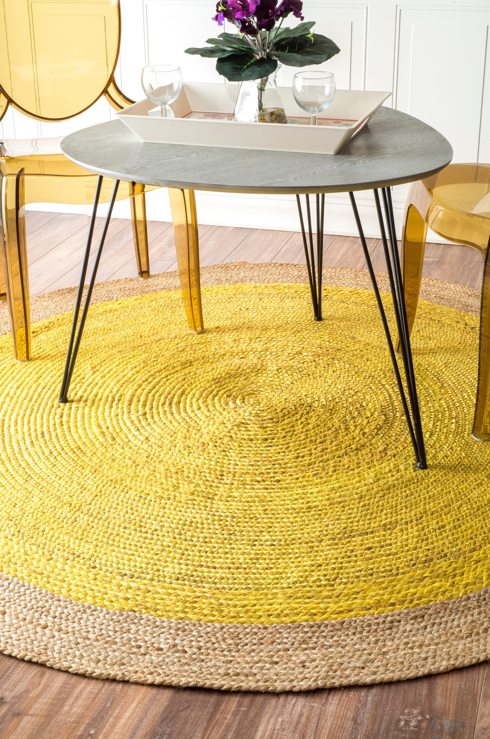 Round yellow nuLOOM rug from Overstock  25 Yellow Rug and Carpet Ideas to Brighten up Any Room Round yellow nuLOOM rug from Overstock