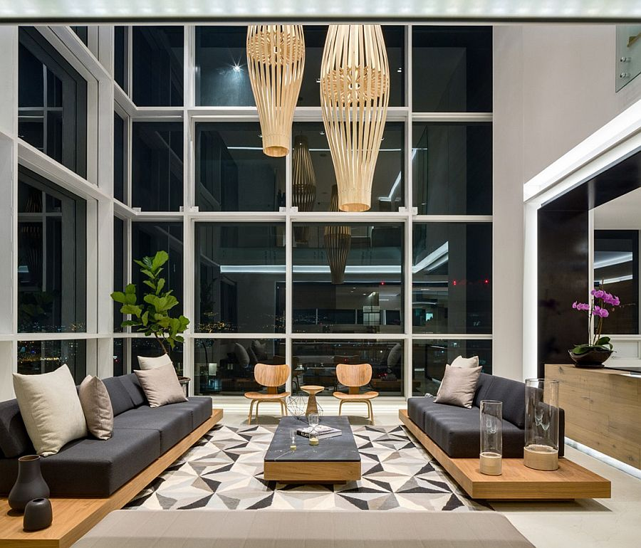 Rug adds geometric pattern to the stylish living space