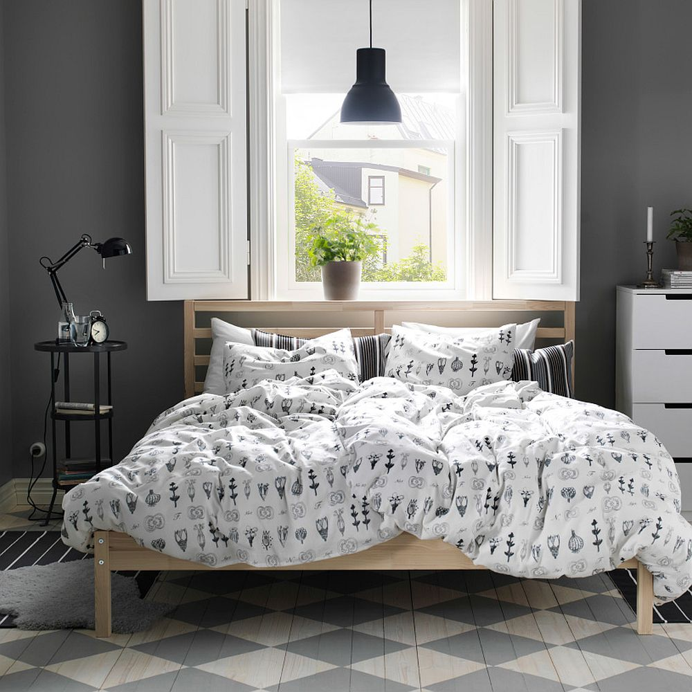 SISSELA Duvet cover adds contemporary playfulness to the bedroom in gray