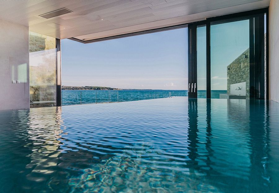 Sensational indoor infinity pool seems to merge with the Adriatic Sea outside!