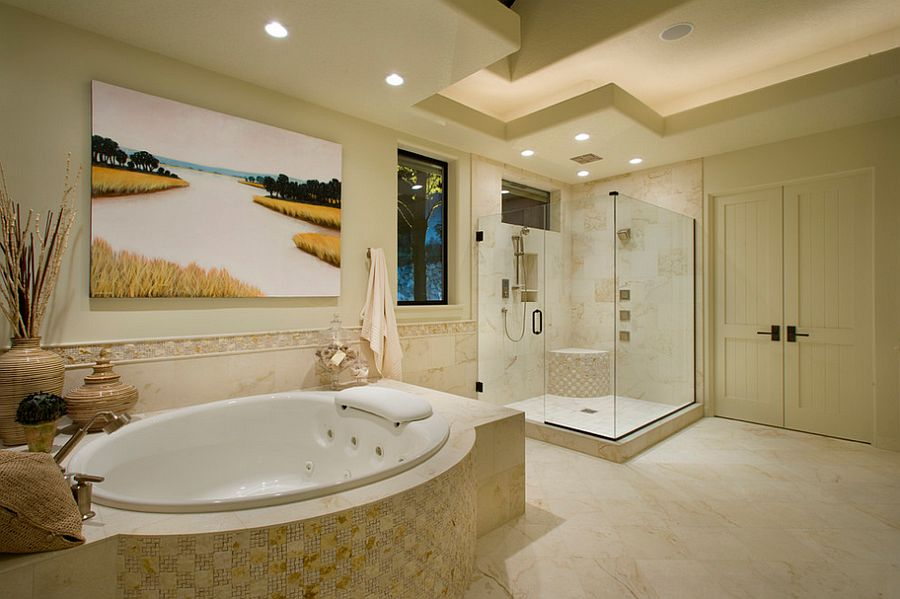 Serene bathroom blends contemporary style with classic elegance [Design: Ronda Divers Interiors]