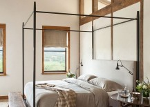 Serene master bedroom with wooden ceiling beams
