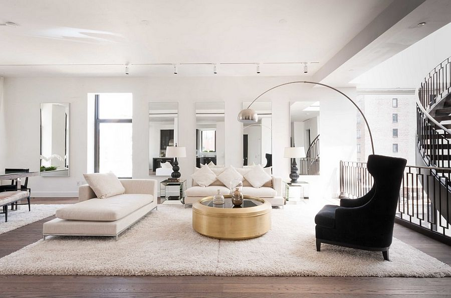 Shiny coffee table stands out thanks to the neutral backdrop [From: Siberian Floors]  50 Fabulous Coffee Tables that Usher in a Golden Glint Shiny coffee table stands out thanks to the neutral backdrop