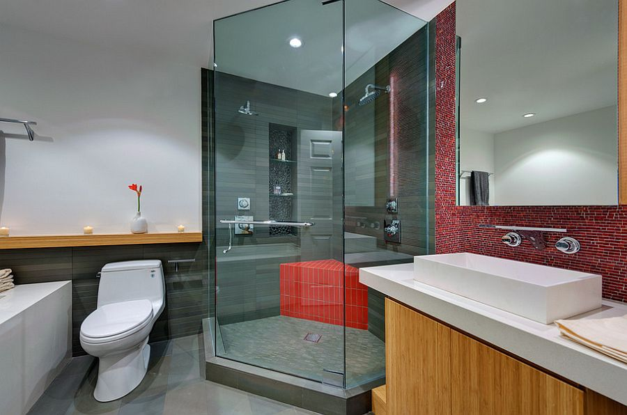 Shower bench adds red brilliance to the modern bathroom [Design: Michael Tauber Architecture]