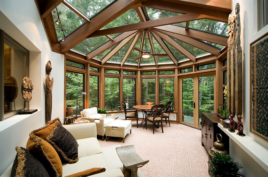 View in gallery Show stopping sunroom design with Asian design influences [ Design: Nick Bonadies]
