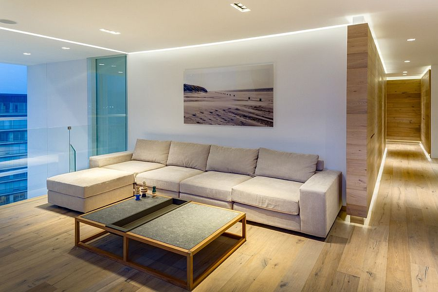 Simple and elegant TV room on the top floor