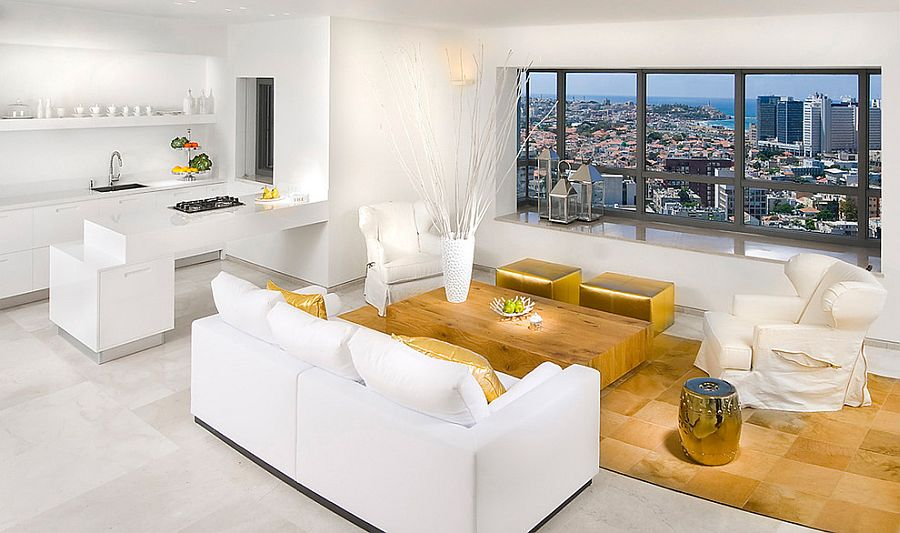 Sizzling living room in white and gold [Photography: Elad Gonen]