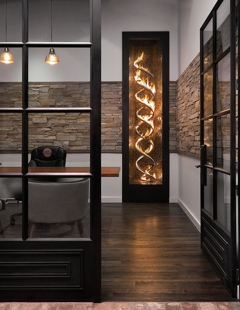 Sizzling propane-fuelled fireplace for the industrial home office [Design: DAYSTAR DESIGN LAB]