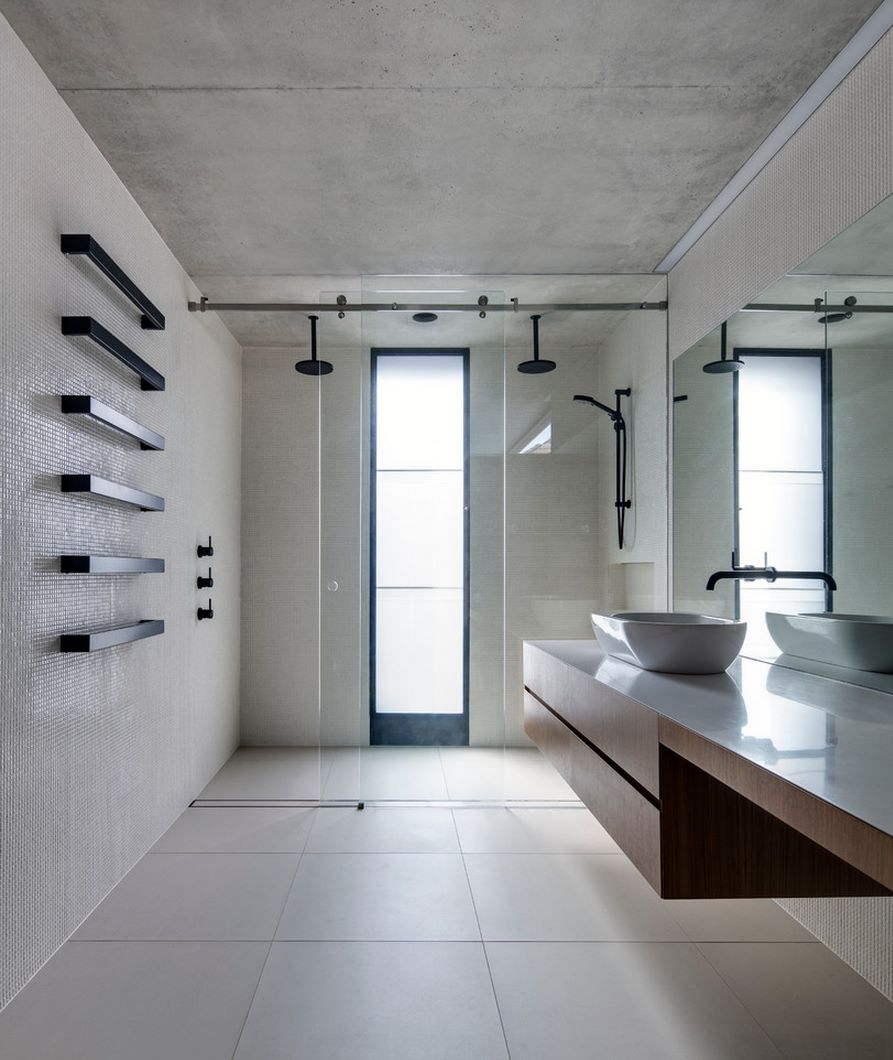 Make a statement with large floor tiles for Extra bathroom ideas