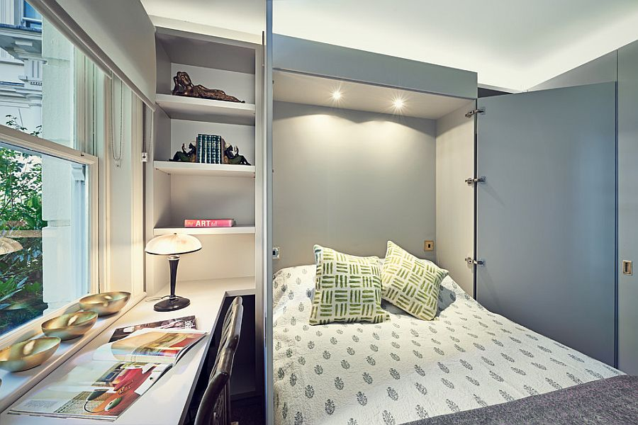 Small home office transformed into a cool guest room [Design: Sarah Fortescue Designs]