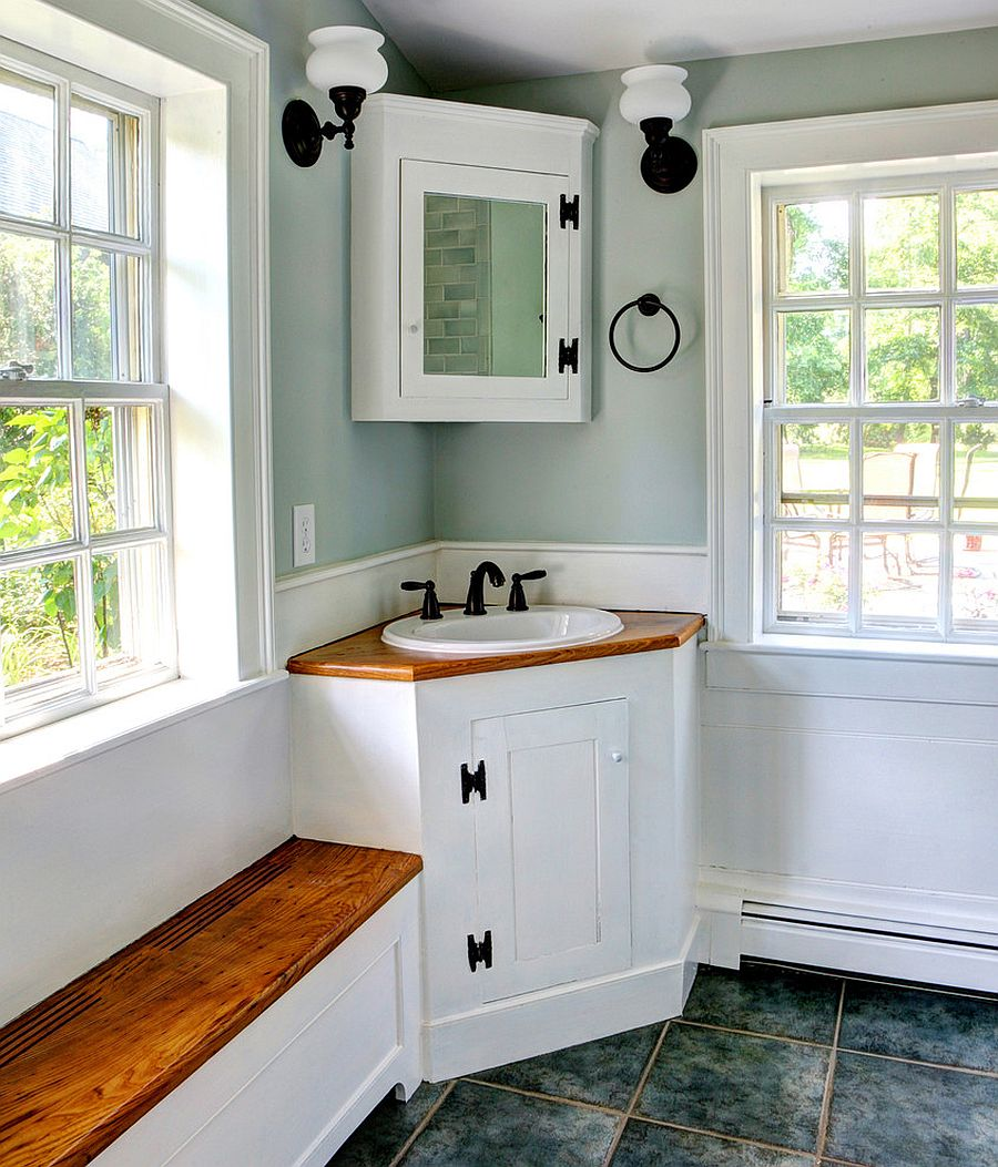 Small rustic bathroom with corner vanity [Design: CK-Architects]