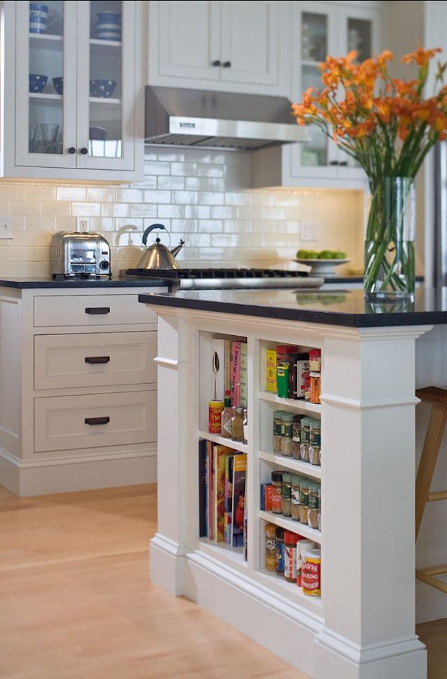 View In Gallery Small Shelves Built Into Kitchen Island For Books And Accessories