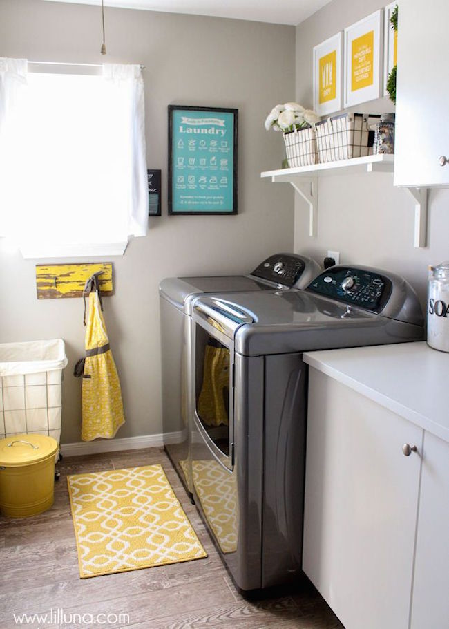 Small yellow rug for laundry room