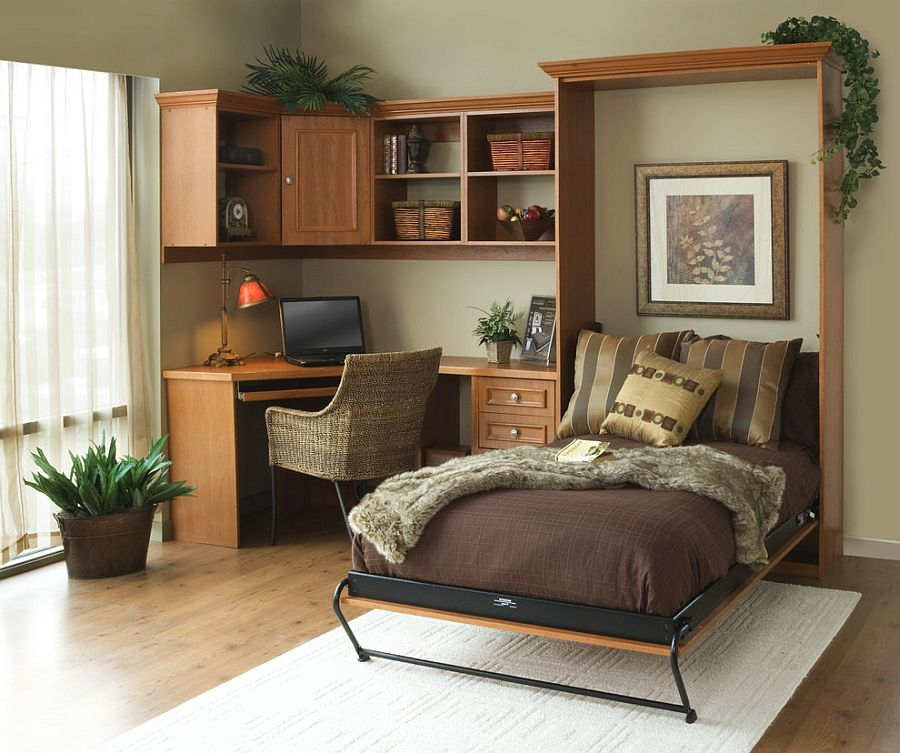 Smart home office with a Murphy bed for guests [From: Tailored Living]