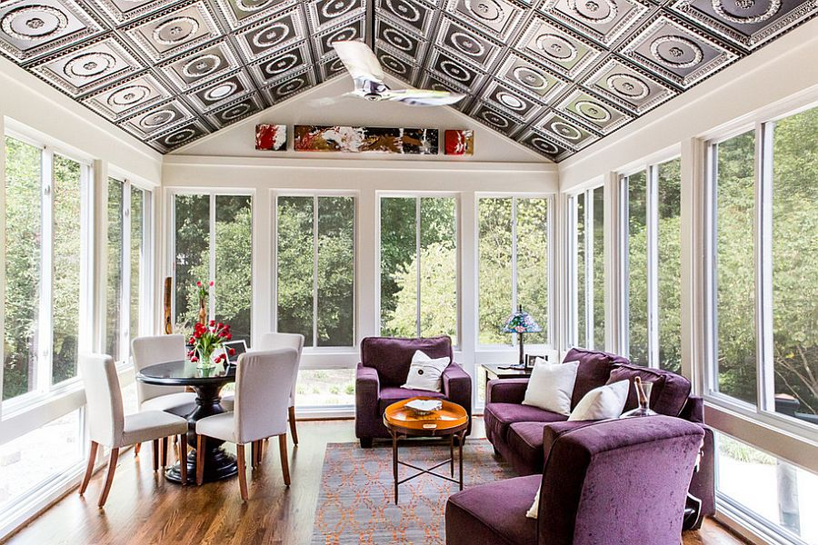 Snazzy ceiling for the contemporary sunroom and decor in purple [Design: Marta Mitchell Interior Design]