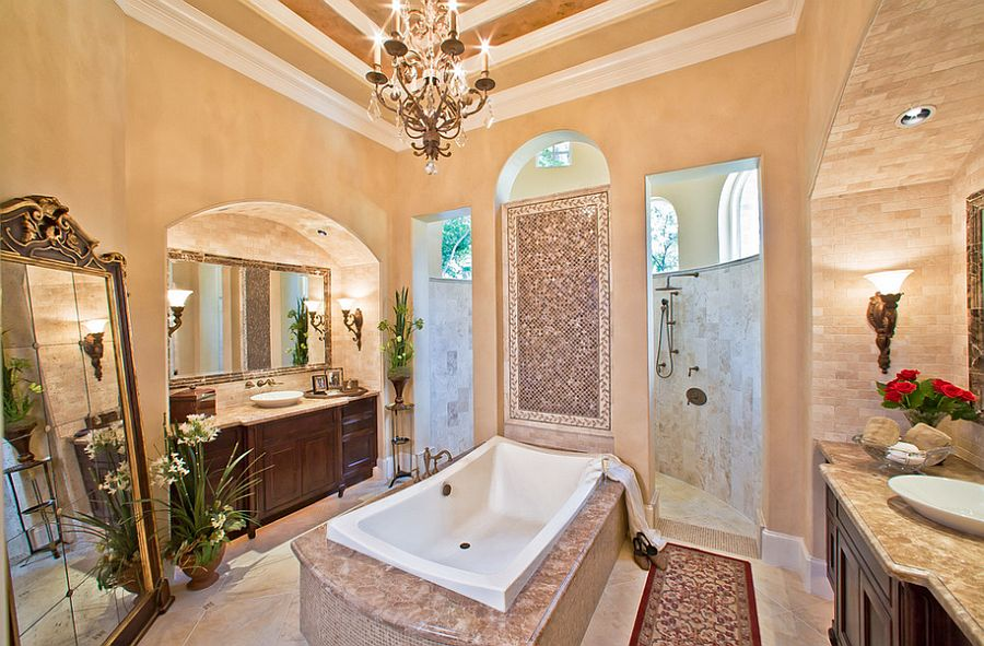 Sparkling Mediterranean style bathroom with an inviting ambiance [Design: William Shaw & Associates]