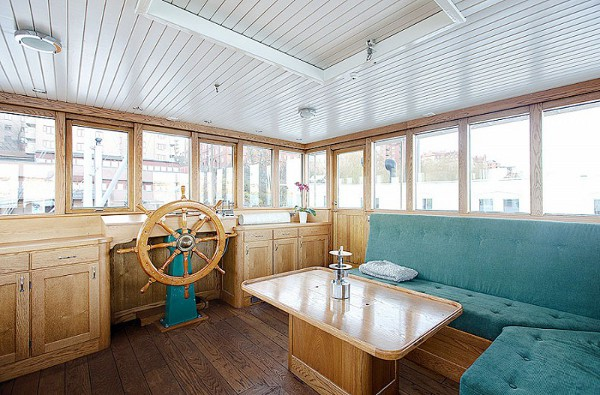 Stockholm Barge Home Living Area with Blue Seating