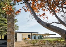 Stone and cedar walls of the Oak Knoll Residence