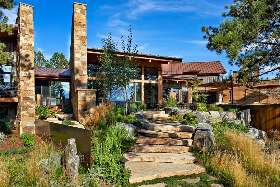 Stone pathway and wooden exterior of the fabulous Eberl Residence