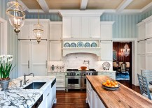 Stripes In The Kitchen Were Considered A Retro Feature And The 90s Shunned  This Idea For More Monotonous Beige And Cream Backdrops.