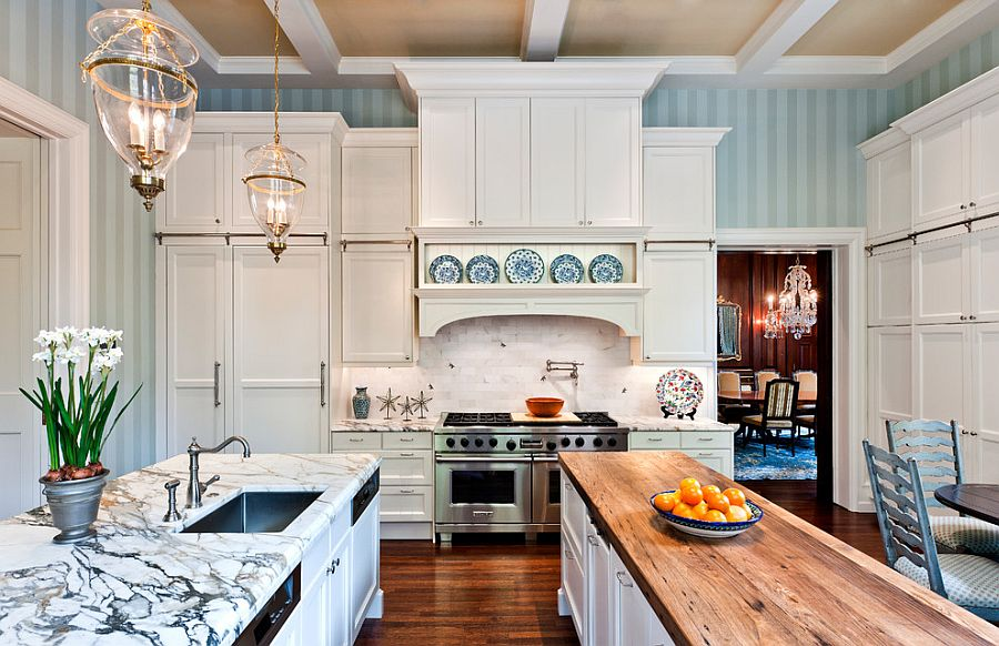 View In Gallery Striped Wallpaper Creates A Soothing Backdrop For The Spacious Traditional Kitchen Design Eberlein