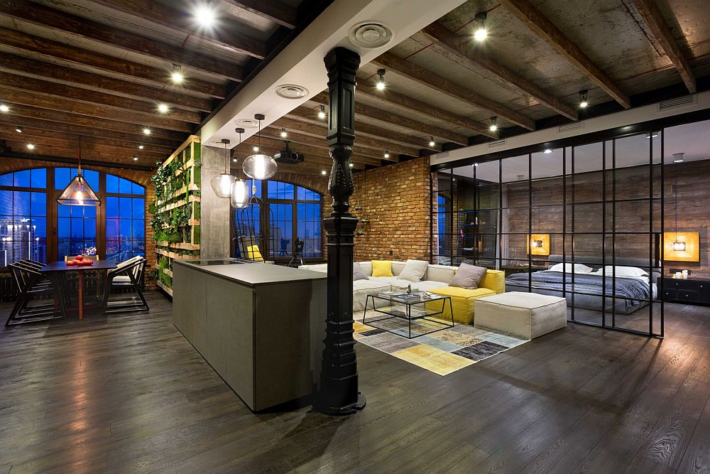 High end bachelor pad design stunning loft in kiev by for Amenagement restaurant interieur