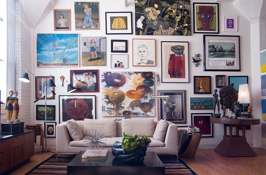 Stunning feature wall for the vibrant living room [From: Adrienne DeRosa Photography]