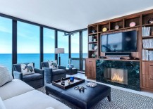 Stunning sunroom with Walnut Entertainment Center and ocean views 217x155 50 Bright and Beautiful Contemporary Sunrooms