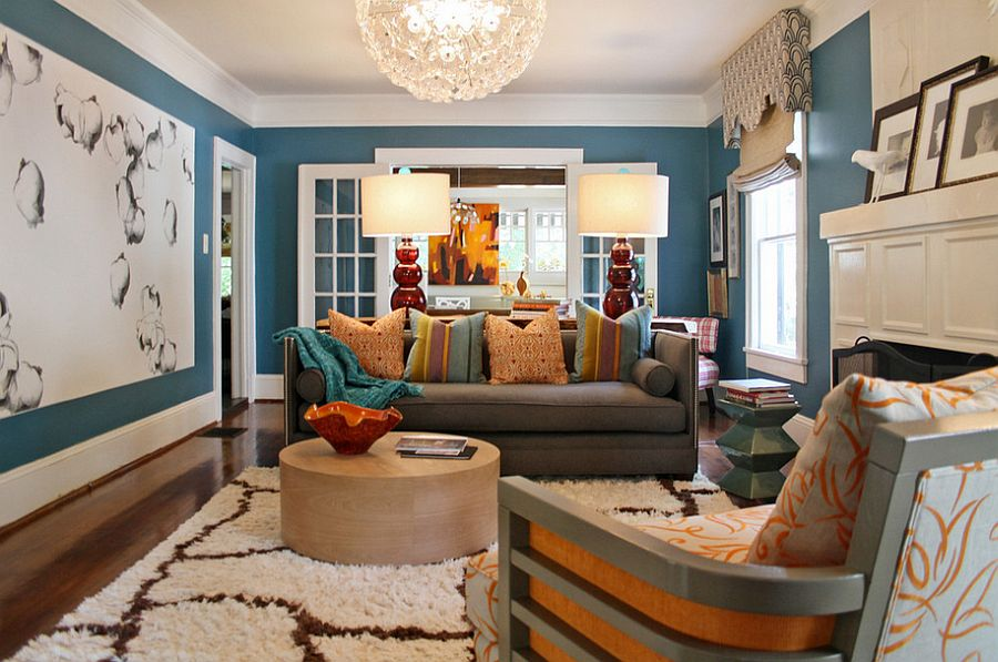 Stylish eclectic living room with contemporary flair [Design: Lucy and Company]