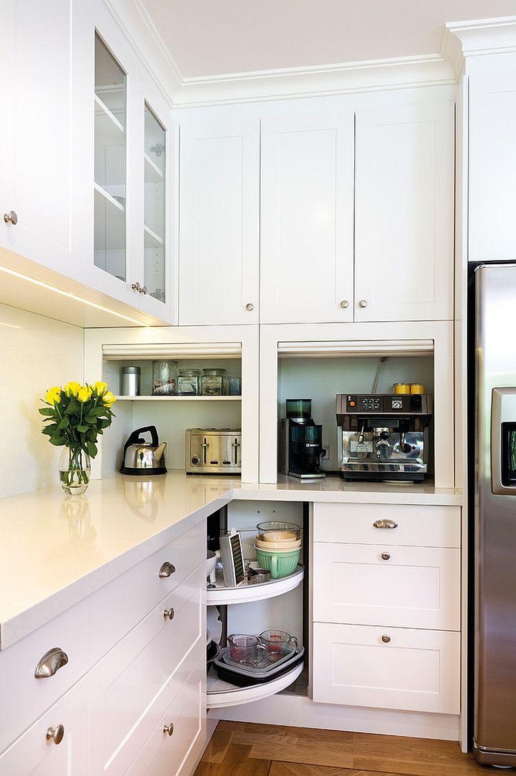 Open Corner Shelves Replace The Traditional Drawers In This Kitchen Design Kitchens