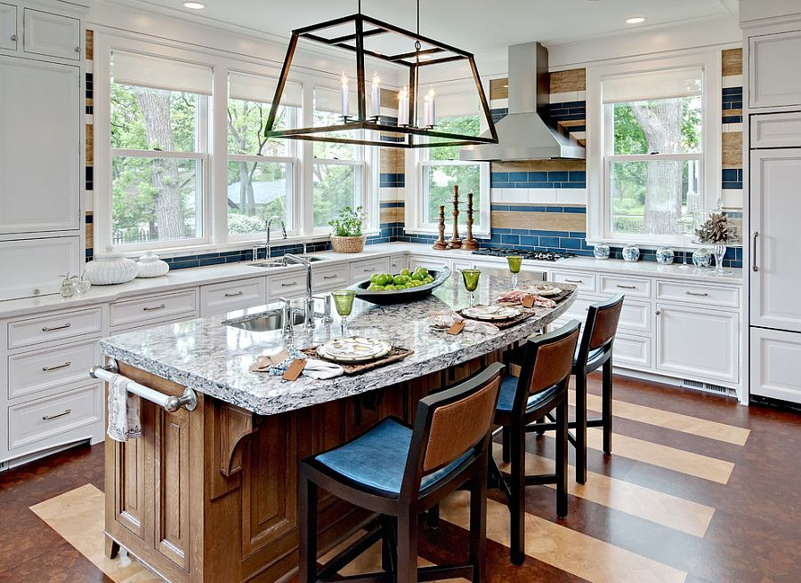 Subtle way to add stripes to the kitchen with colorful tiles