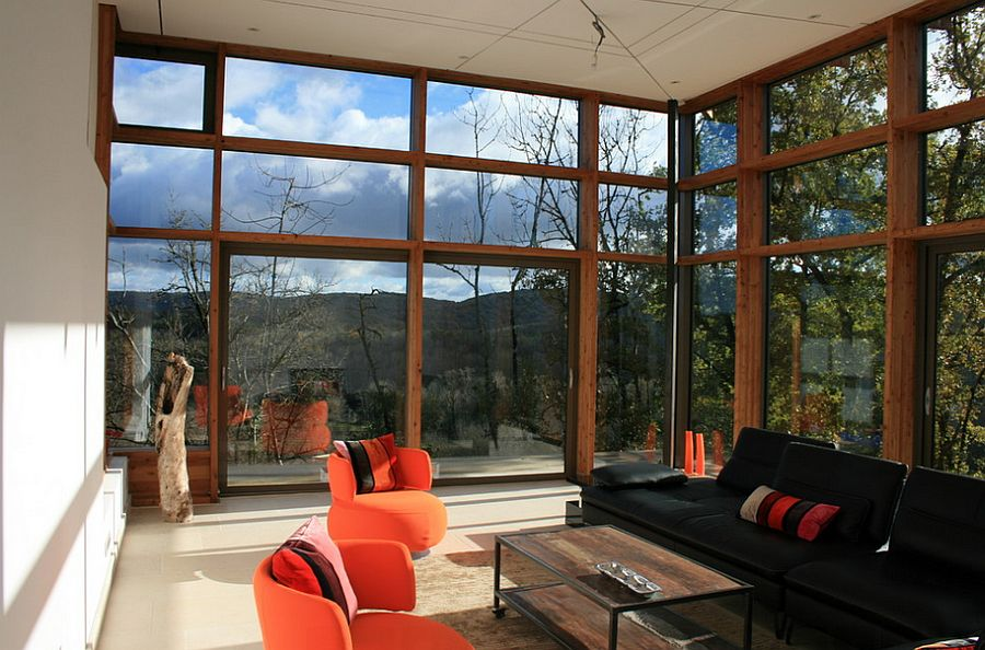 Sunroom also offers perfect vantage point to take in the view outside [Design: Catherine Gallon et Hugues Sitoleux]