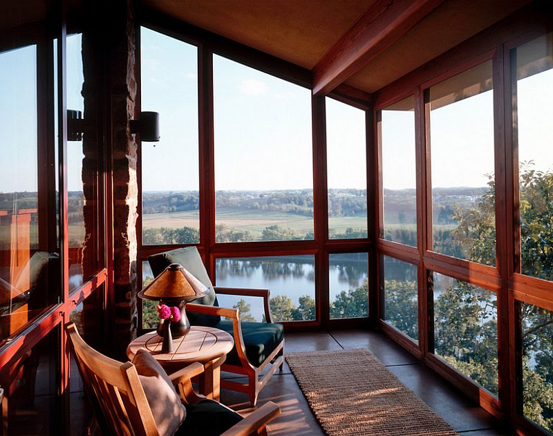 Sunroom of the St Louis River House offers mesmerizing views of the landscape around