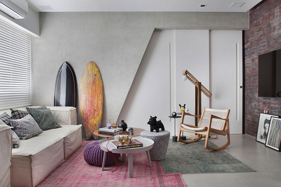 Surfboards in the corner add native Brazillian charm to the interior