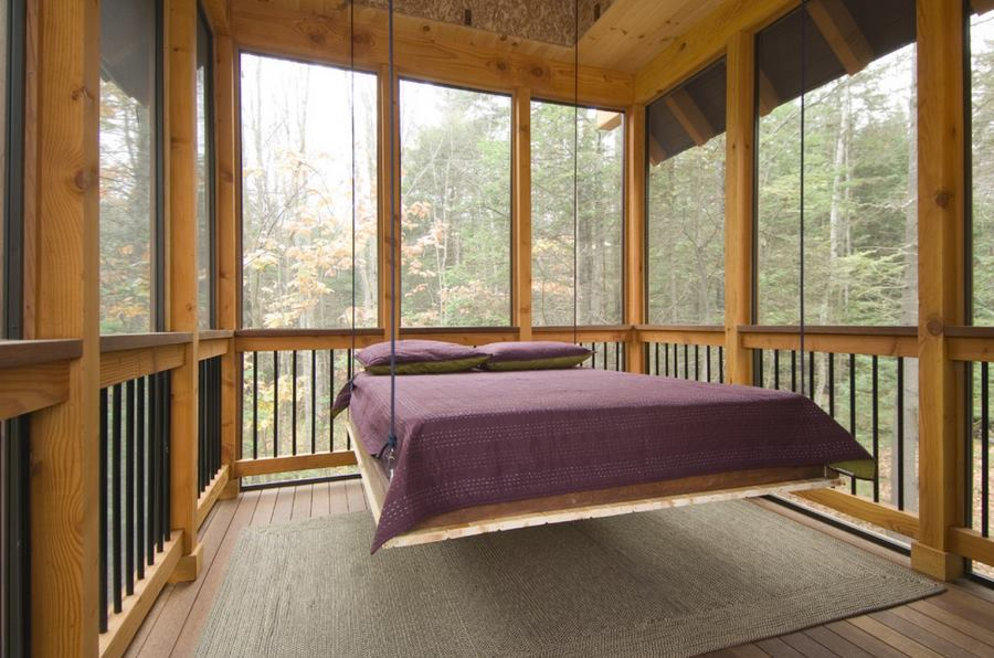 View In Gallery Suspended Bed On A Screened In Sleeping Porch