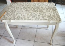 Tabletop with lace stencil design 217x155 15 Elegant Ways to Decorate with Lace