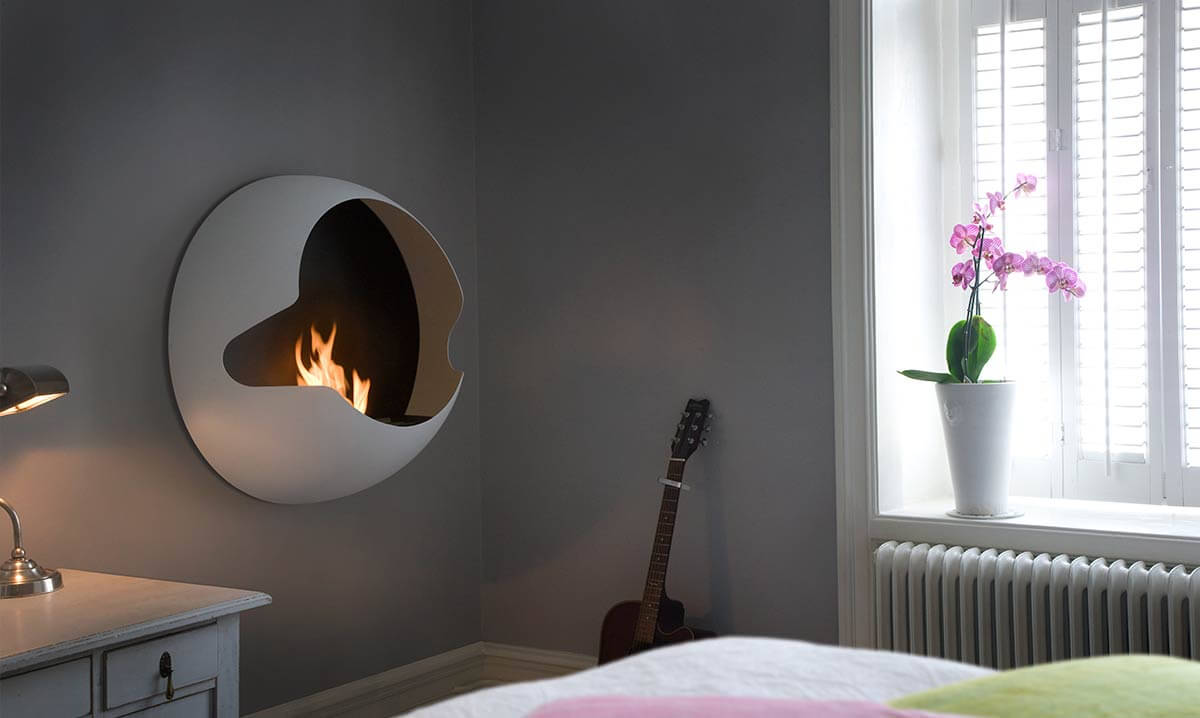 The Cupola wall-mounted fireplace from Vauni