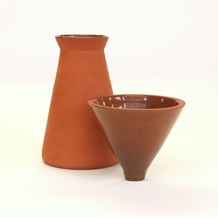 Thrown terracotta coffee dripper