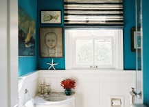 Tiny corner vanity for the eclectic powder room