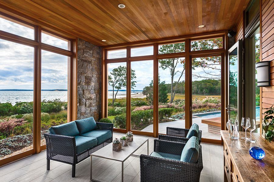 Touch of stone beauty for the sunroom [Design: Blaze Makoid Architecture]  50 Bright and Beautiful Contemporary Sunrooms Touch of stone beauty for the sunroom